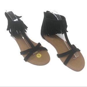 Black fringe t-strap sandals with back zip size 7